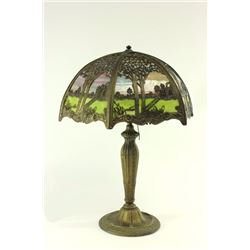 Sectioned Table Lamp with Tree & Cabin Metalwork