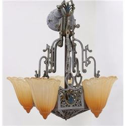 Art Deco 5-Light Chandelier with Carmel Shades