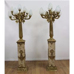 Pair Bronze & Marble Palace Size 8-Light Torcheres