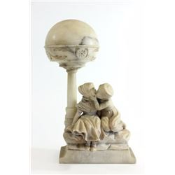Early 20th Century Figural Carved Alabaster Lamp