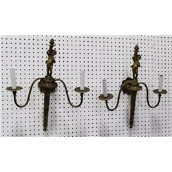 Pair Neoclassic Style Figural Brass Sconces
