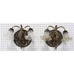 Rococo Style Brass 2-Light Wall Sconces