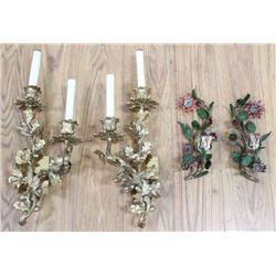 2 Pairs Rococo Style Foliate 2-Light Wall Sconces