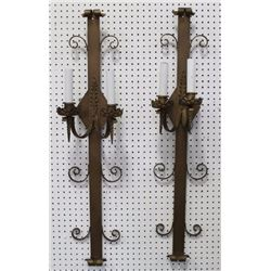 Pr Mission Style Gold Painted Wrought Iron Sconces