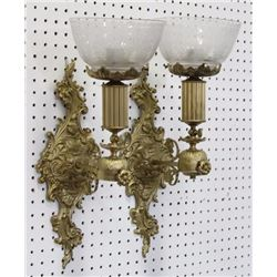 Pair Brass & Etched Glass Shade Sconces