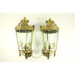 Pair Bronze & Crystal 3-Light Lantern/Sconces