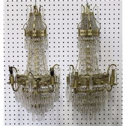 Pair Gilt Metal & Crystal Tiered Sconces