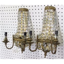 Pair Brass & Beaded Crystal Sconces