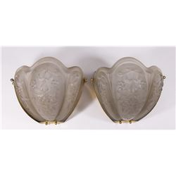 Pair Sconces with Frosted Floral Shade