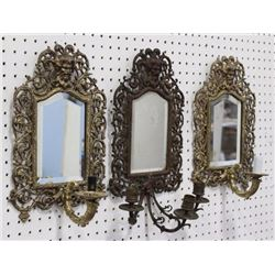 3 Mirrored Sconces with Northwind Faces