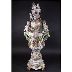 Palace-Size Dresden Porcelain Covered Urn