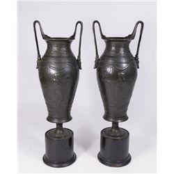Pair of Bronze Neoclassical Urns