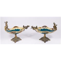 Pair of Bronze Mounted Majolica Figural Compotes