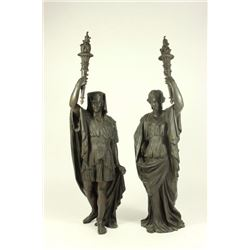 Pair 19th Century French Bronze Revival Figures