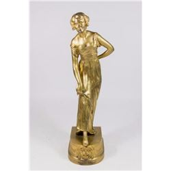 :Joe Descomps Gilt Bronze Art Deco Sculpture Woman