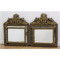 Pair Dutch Baroque Style Metal Clad Wood Mirrors