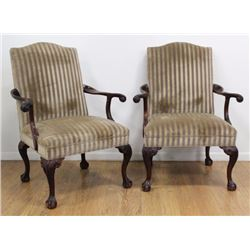 Pair Crook Arm Ball & Claw Leg Chairs