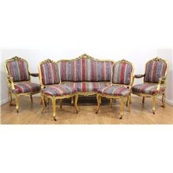 Louis XV Style 5-Piece French Gilded Salon Set