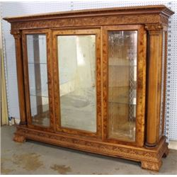 Neoclassic Style Carved Walnut Display Cabinet
