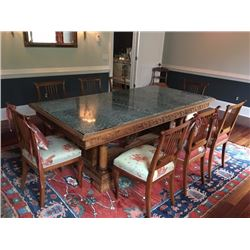 Carved Dining Room Table & 8 Chairs