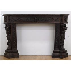 3-Piece Figural Wood Mantel