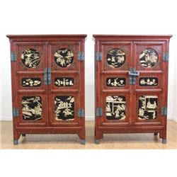 Pair Bone Inlaid Japanned Cabinets