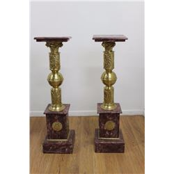 Pair Marble & Bronze Pedestals with Bronze Ormolu
