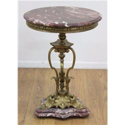 Bronze & Marble Top Side Table