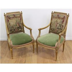 Pair French Louis XVI Style Aubusson Back Chairs