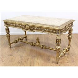 Marble Top Giltwood Heavily Carved Coffee Table