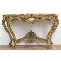 19th C. Louis XV Style Parcel Gilt Console