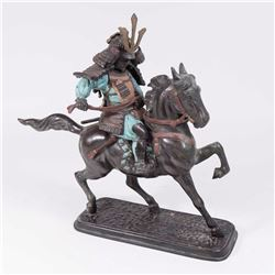 Japanese 2-Piece Bronze Sculpture, Samurai Warrior