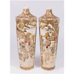 Pair of Japanese Satsuma Ceramic Vases