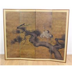 :4-Panel Signed Japanese Screen Depicting Birds