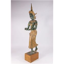 Southeast Asian Bronze Mounted on Wood Stand