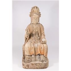 Seated Carved Wood Buddha