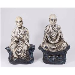 2 Chinese Blue & White Figures of Seated Scholars