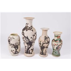 4 Chinese Crackle Glazed Vases