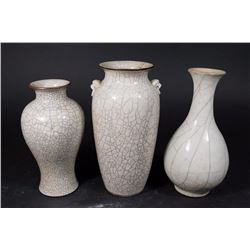 3 Chinese Cream Ground Crackle Glazed Vases