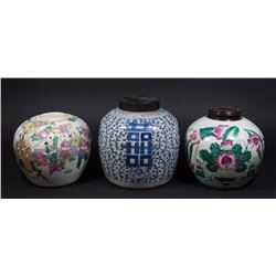 3 Chinese Porcelain Ginger Jars