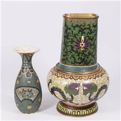 Chinese Cloisonné Vase & Cloisonné on Ceramic Vase