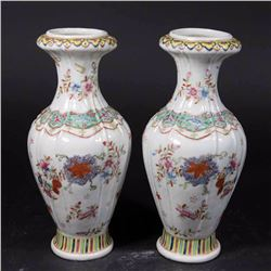 Pair Chinese Porcelain Foliate Decorated Vases