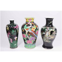 3 Chinese Black Ground Porcelain Vases