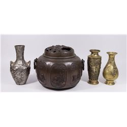 Chinese Bronze Censer with 3 Metal Vases