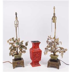 Pair Chinese Jade Tree Lamps & Cinnabar Vase