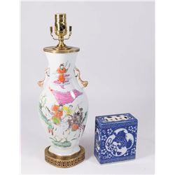Chinese Porcelain Lamp & Headrest