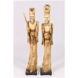 Pair Carved Bone Chinese Figures, King & Queen