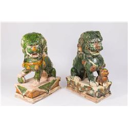 Pair Chinese Pottery Seated Foo Dogs