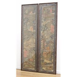 Pair Framed Chinese Embroidered Panels on Silk