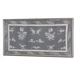 Chinese Silk Embroidery on Blue Background